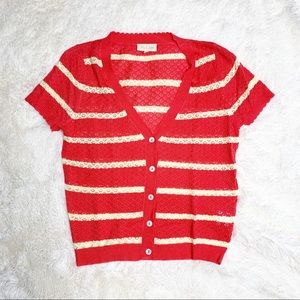 NEW Modcloth Red Striped Pointelle Knit Cardigan